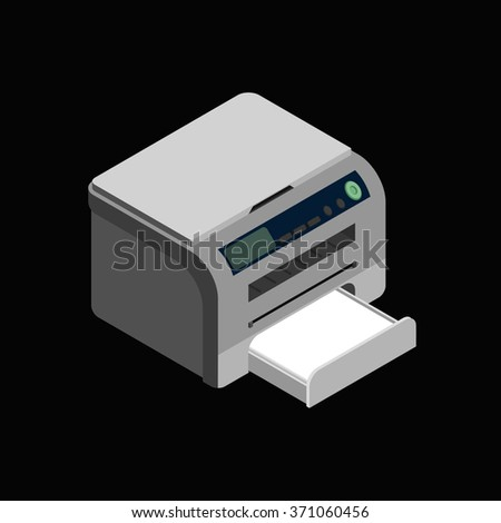Isometric vector laser printer icon. Digital machine illustration . Modern grey office printer on  dark background  - stock vector