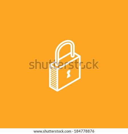 isometric vector lock icon - stock vector