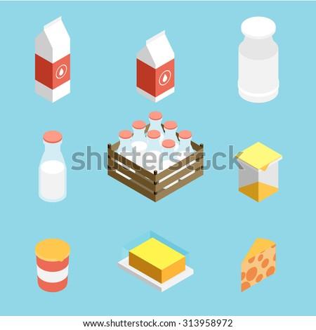 Isometric vector milk icon - stock vector