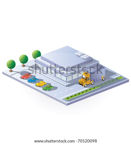 isometric view of a supermarket on a white background - stock vector