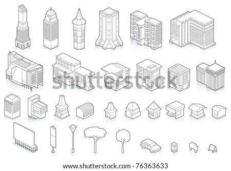 Isometric view of the  building city's - stock vector