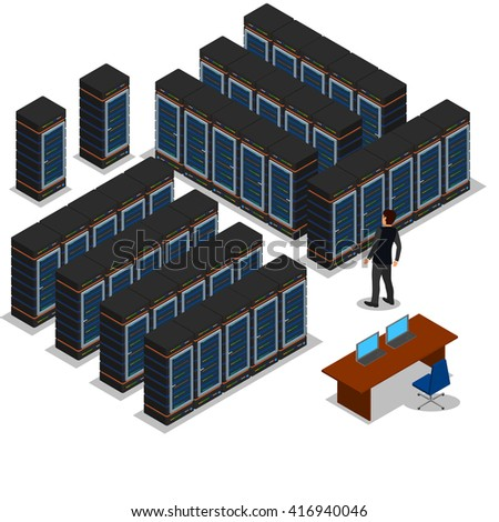 isometric view of the server room, vector illustration, icon, data center, rack, computer, server farm.