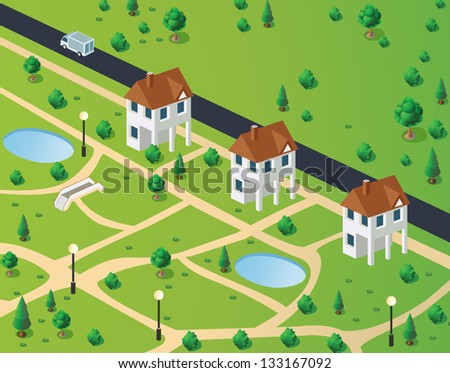 Isometric view of town houses on the background of the road - stock vector