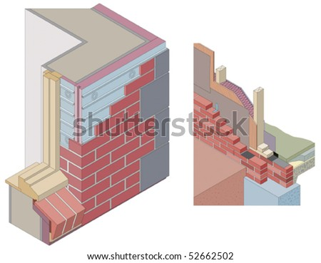 Isometric wall sections (vector) - stock vector