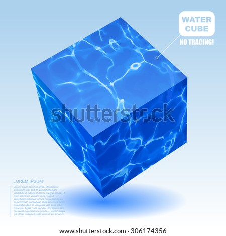 Isometric water cube. Vector not tracing illustration  - stock vector