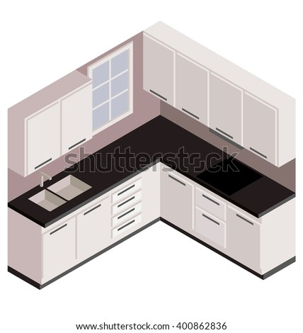 isometric white kitchen vector in 3d view