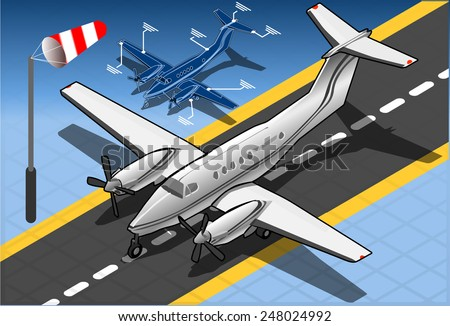 Isometric White Private Plane. Aircraft Airport.  - stock vector