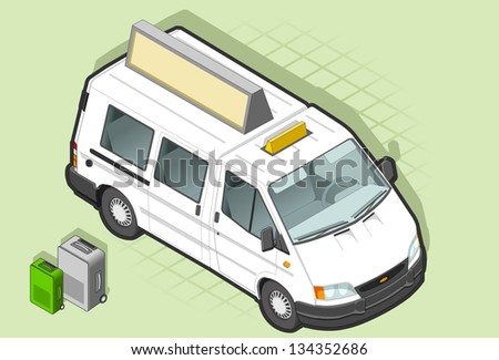 isometric white taxi van in front view - stock vector