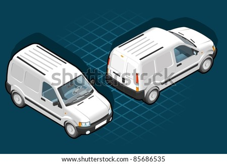 Isometric white van in two position - stock vector