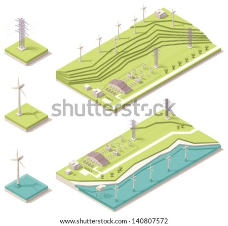 Isometric wind farm - stock vector