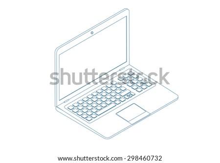 isometric wireframe stroke vector icon of laptop - stock vector