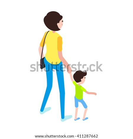 Isometric woman and child. Icon mom her son isolated on white background. Young woman with a child. Vector illustration. - stock vector