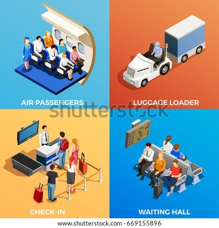 Isometric 2x2 design concept with set of scenes with people at airport and on board 3d isolated vector illustration