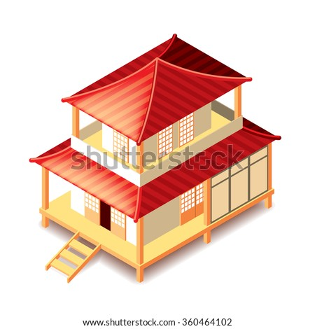 Isometrical tradition japan house isolated photo-realistic vector illustration - stock vector