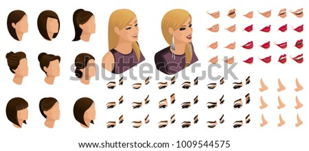 Isometrics Create Your Emotions Hairstyles Girl Stock Vector HD ...