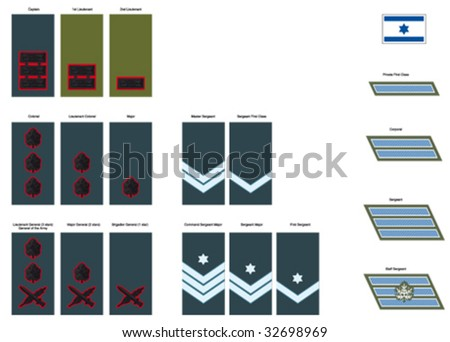 Israel Defense Forces - Ranks - stock vector