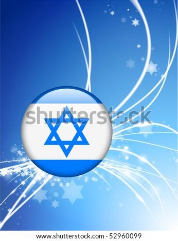 Israel Flag Button on Abstract Modern Light Background Original Illustration - stock vector