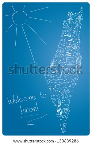 Israel icon set in map shape - stock vector