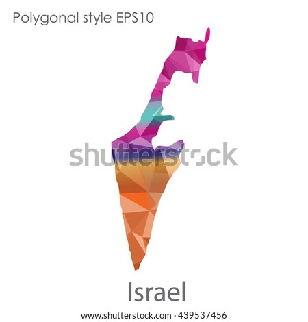 Israel map in geometric polygonal style.Abstract gems triangle,modern design background. Vector illustration EPS10