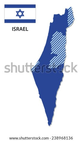 israel map with flag - stock vector