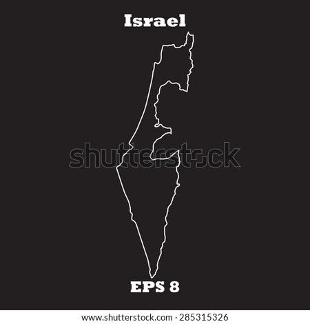 Israel outline map, stroke. Name of state. Line style. Vector EPS8 - stock vector