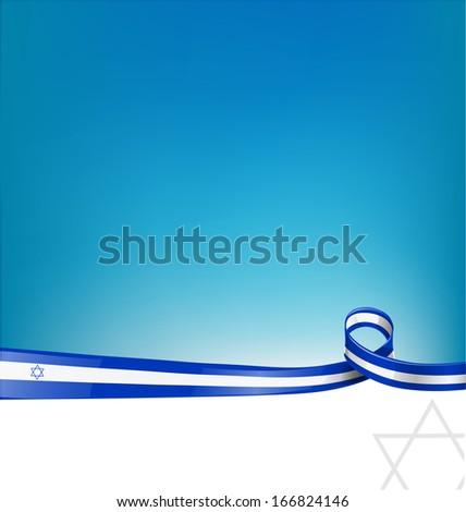 Israel ribbon flag background - stock vector