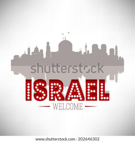 Israel Skyline Silhouette vector illustration. - stock vector