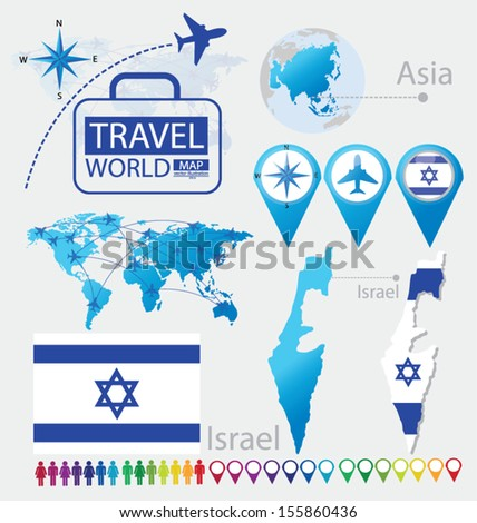 Israel. State of Israel. flag. Asia. World Map. Travel vector Illustration. - stock vector