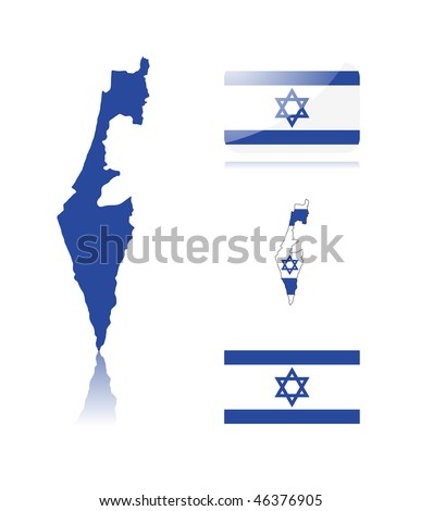 Israeli map including: map with reflection, map in flag colors, glossy and normal flag of Israel. - stock vector