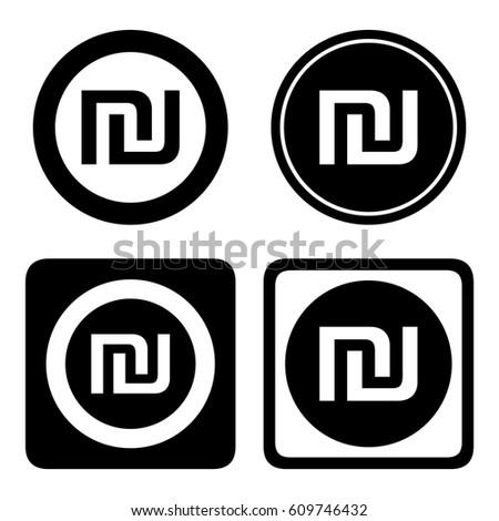 Israeli Shekel Cashier Icon Set Ils Stock Vector 609746432