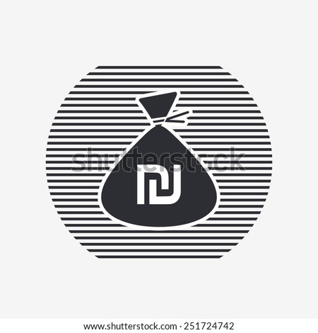 Israeli Shekel currency symbol. Money bag icon. Flat design style. Made in vector illustration - stock vector