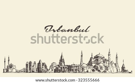 Istanbul detailed skyline, Turkey,  vintage engraved illustration, hand drawn, sketch - stock vector