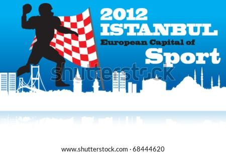 Istanbul European Capital Of Sport, Istanbul Panorama, Bosporus, Turkey - stock vector