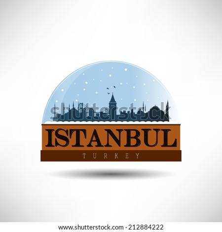 Istanbul, Turkey city skyline silhouette in snow globe. Vector design. - stock vector