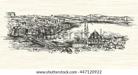 Istanbul, Turkey.Hand drawn illustration. - stock vector