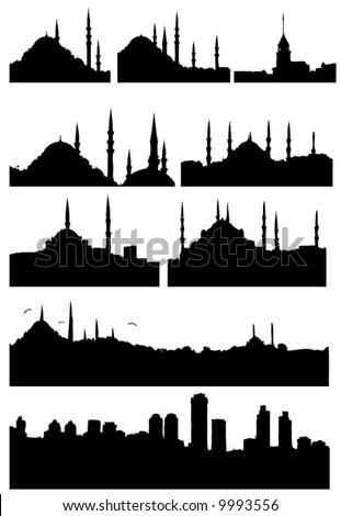 Istanbul Turkey silhouettes set - stock vector