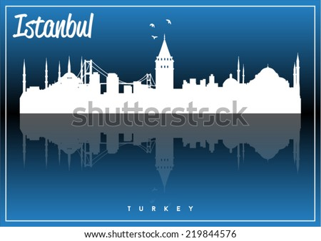 Istanbul, Turkey skyline silhouette vector design on parliament blue background. - stock vector