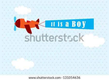 it is a boy announcement tag with airplane graphic - stock vector