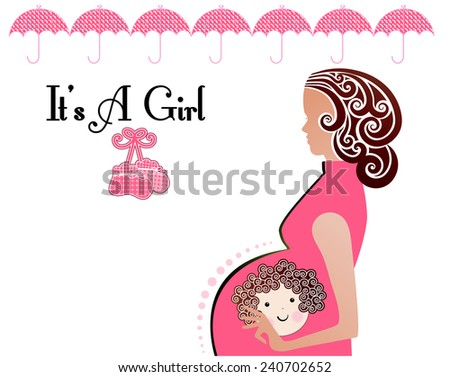It is a girl tattoo on belly of pregnant woman  - stock vector