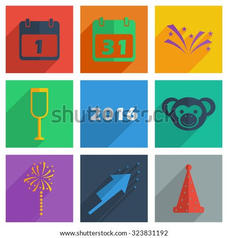 It is a set of Christmas icons with shadow flat concept modern design - stock vector