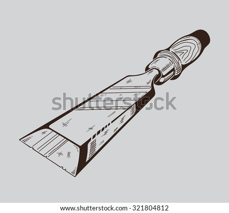 It is monochrome vector illustration of hacksaw. - stock vector