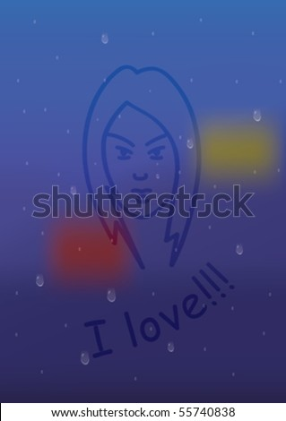 It is raining. Figure is drawn on the glass. - stock vector