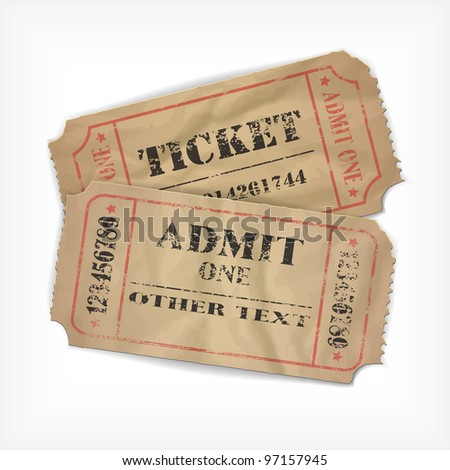 it is realistic executed vector old tickets, with possibility to edit the text and figures (the effect of old times and an attrition, rumpled remains) - stock vector