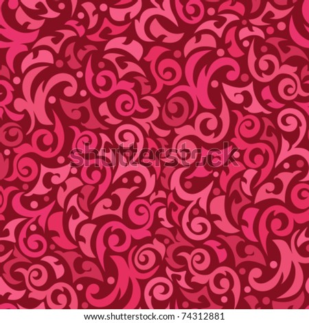 It is red a claret pink seamless background with monograms - stock vector