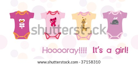 It's a baby girl - announcing birth card in vector - stock vector