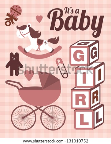it's a baby girl template vector/illustration - stock vector