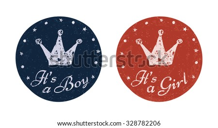 It's a boy and It's a girl labels for banner, scrapbook, greeting, postcard, invitation, emblem etc. Baby announcement cards. Vector illustration for graphic design. - stock vector