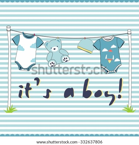 It's a boy - baby announcement card - - stock vector