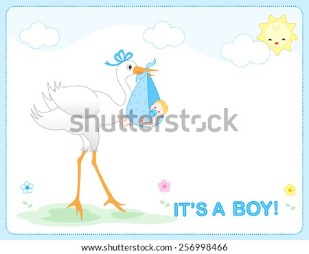 It's a  boy baby boy arrival announcement card / frame - stock vector