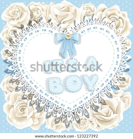 it`s a boy baby shower on heart and roses background - stock vector